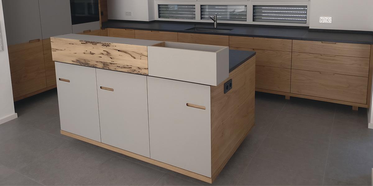 holzfreude k che in eiche linoleum bohrmuschel eiche und granit. Black Bedroom Furniture Sets. Home Design Ideas