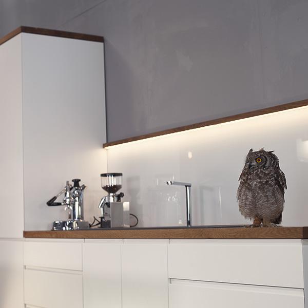 Küchenmodell Eule maßgefertigt Lichtplanung